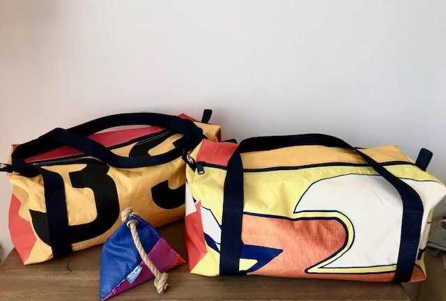 Flight Bags recycled from vintage windsurf sails